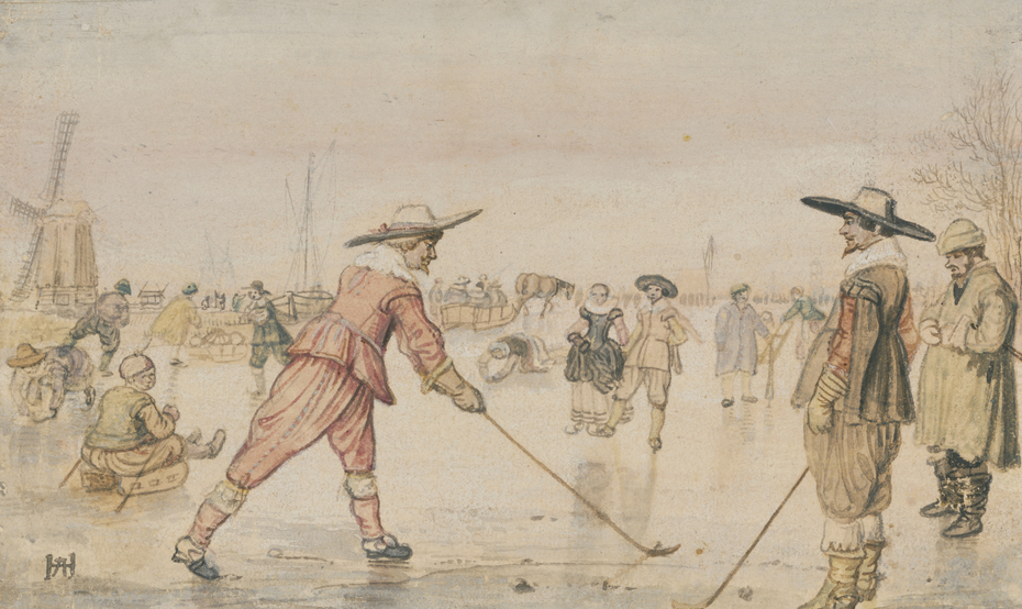 A Winter Scene with Two Gentlemen Playing Colf