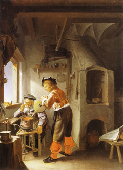 An alchemist and his assistant in a workshop