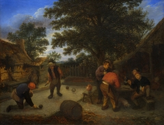 Ballplayers in the inn garden