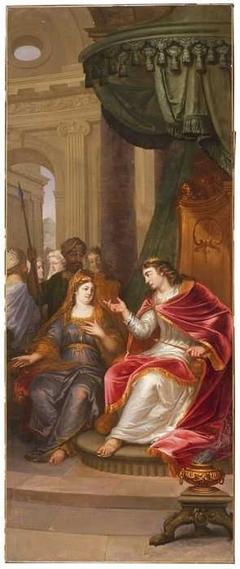 Bathseba vraagt Salomo om toe te stemmen in een huwelijk van Adonia met Abisagh
