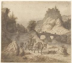 Berglandschap met kasteel en figuren