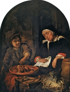 Boy Stealing an Apple from a Sleeping Woman