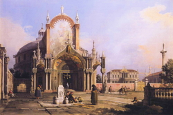 Capriccio of a Round Church with an Elaborate Gothic Portico in a Piazza, a Palladian Piazza and a Gothic Church Beyond