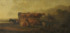 Cattle with Sleeping Cowherd