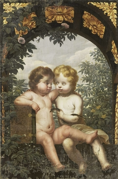 Christian Allegory with two Children with a Bible and Snake