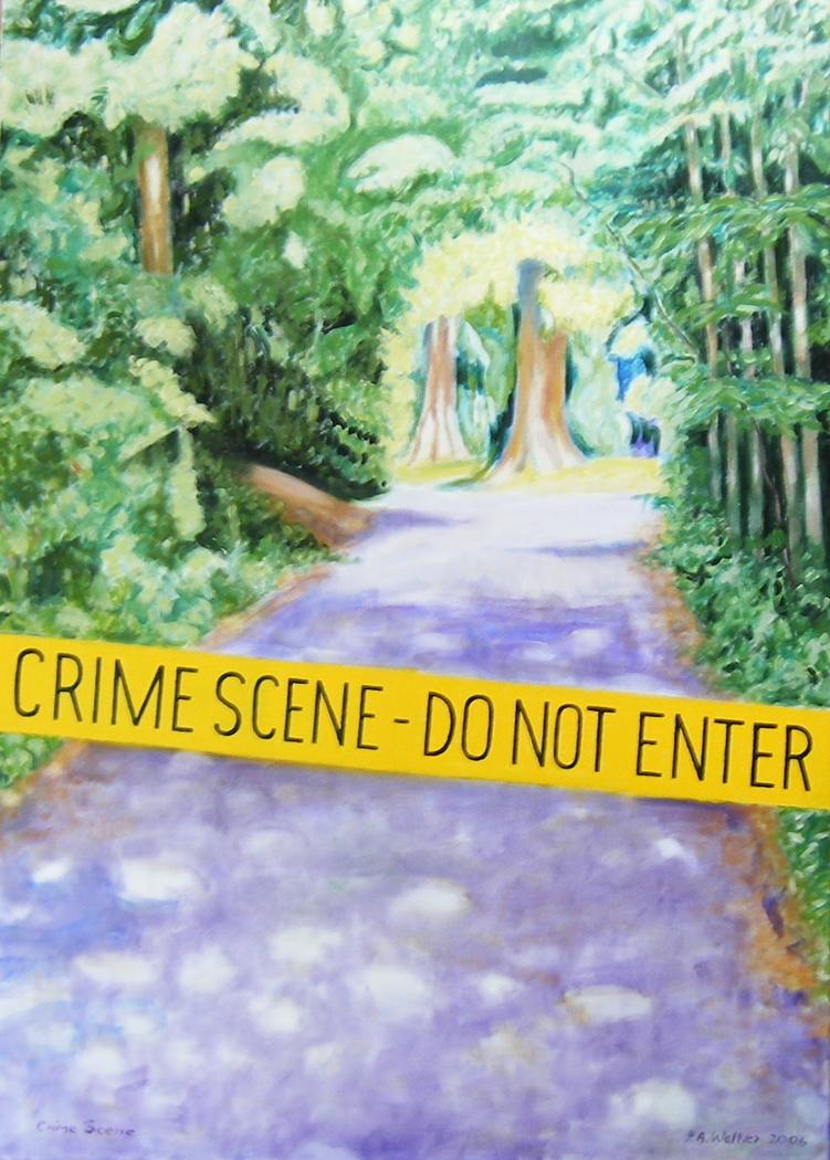 'Crime Scene - do not enter', (2006) oil on linen, 140 x 100 cm.
