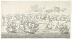 De Slag bij Solebay, 7 juni 1672, even na twee uur in de middag, gezien vanuit het noordwesten: linkerdeel