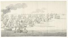 De Slag bij Solebay, 7 juni 1672, even na twee uur in de middag, gezien vanuit het noordwesten: rechterdeel