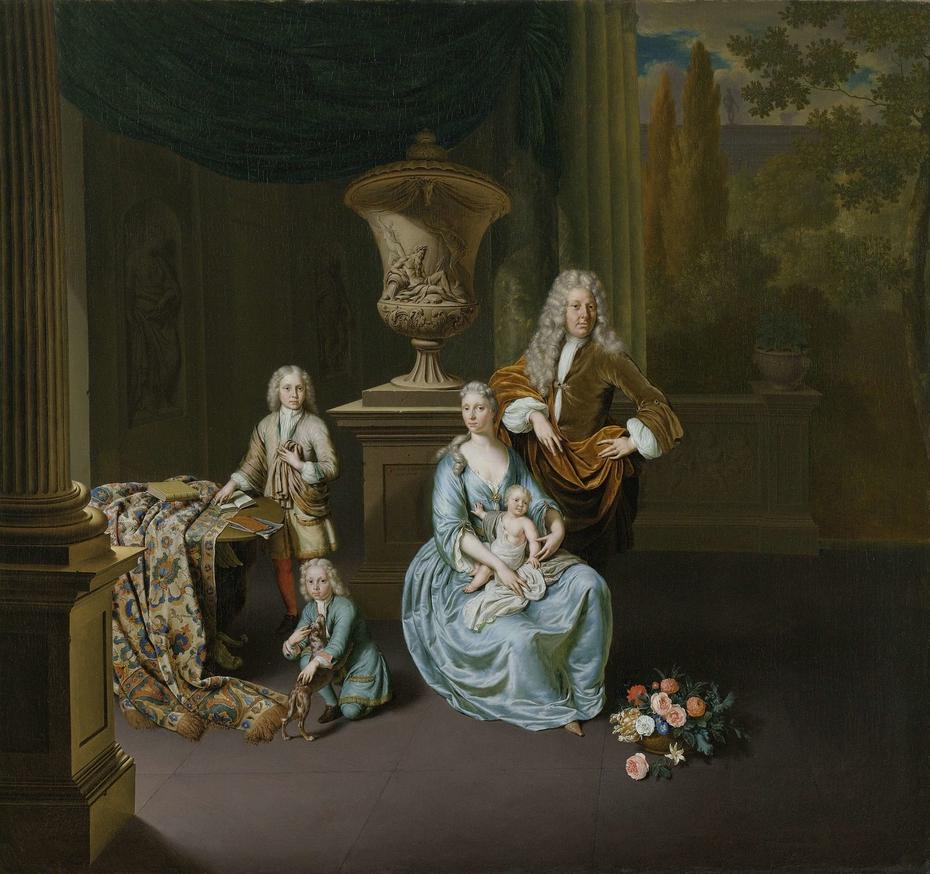 Diederik Baron van Leyden van Vlaardingen (1695-1764). Burgomaster of Leiden, with his Wife Sophia Dina de Rovere and their Sons Pieter, Jan en Adriaan Pompejus