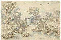 Dorp, doorsneden door een druk bevaren rivier