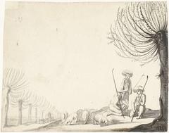 Drie herdersjongens met schapen bij wilgen