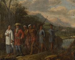 Dutch Merchant with Slaves in a East Indies Hills