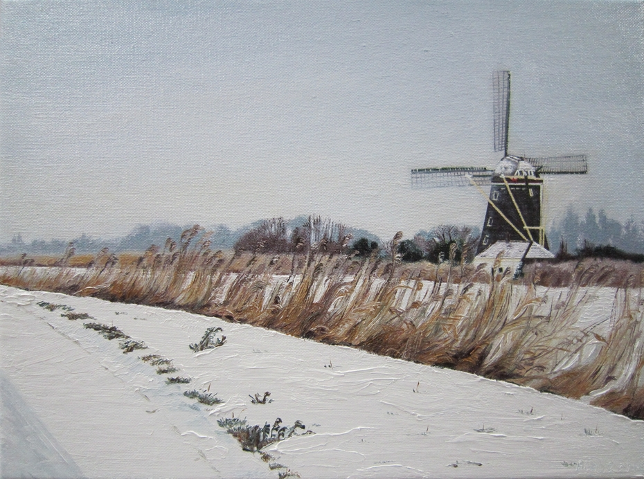 Dutch windmill in the snow