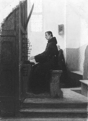 Een jonge monnik speelt op een orgel