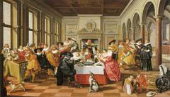 Elegant company smoking and drinking in a renaissance interior
