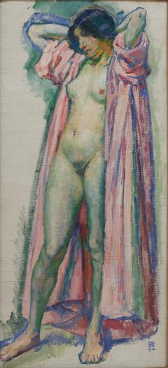 Femme au peignoir rose