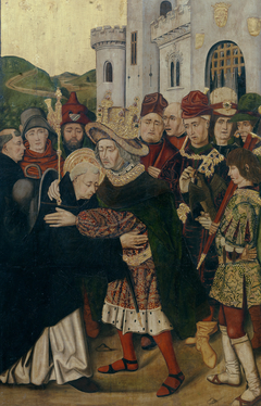 Ferdinand I of Castile welcoming Saint Dominic of Silos