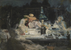 Figures Seated Around a Lamp