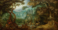 Forest Landscape with Hunters