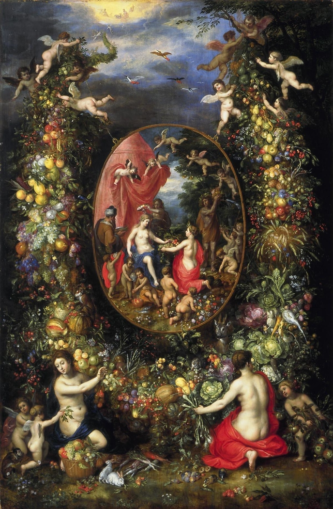 Garland of Flowers around an Allegory of Farming