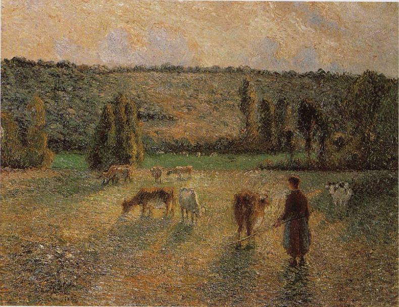 Girl Tending Cows at Eragny