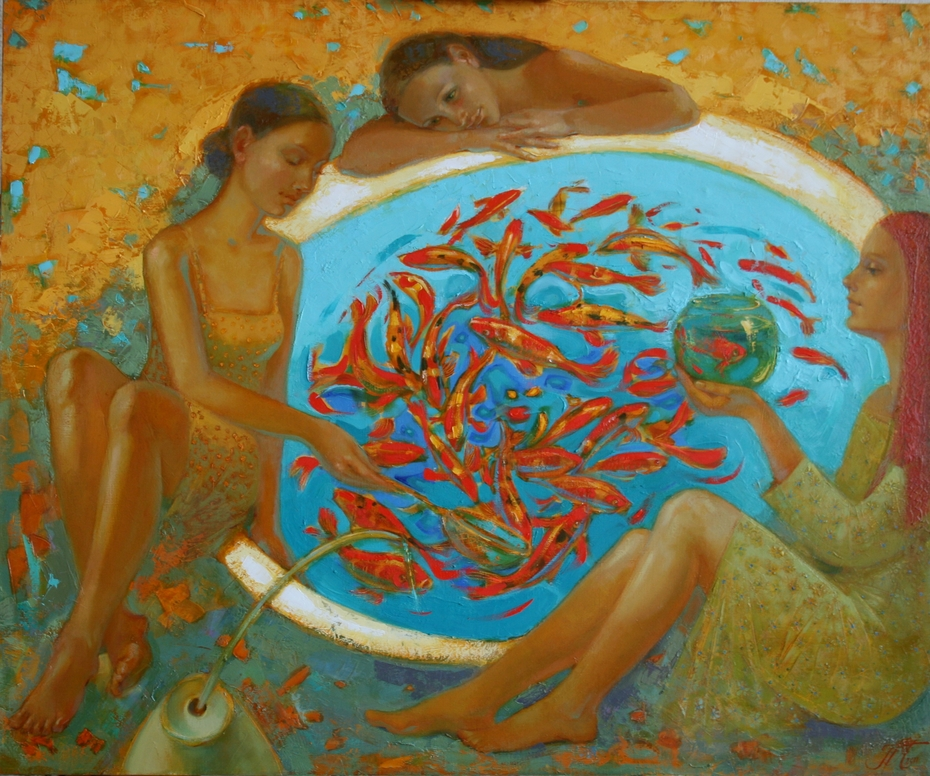 Girls and golden fishes