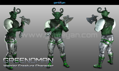 3D Greenoman Warrior Character Modeling Germany