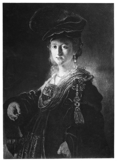 Half-length figure of a young woman in fanciful costume