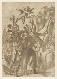 Hercules en Scipio geleid door Minerva op het pad der deugd