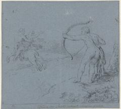 Hercules richt zijn pijl op Nessus die Deïanira ontvoert