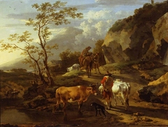 Herdsfolk retiring from a Watering-place at Eventide
