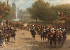 Het Frederiksplein te Amsterdam tijdens de intocht van koningin Wilhelmina, 5 september 1898