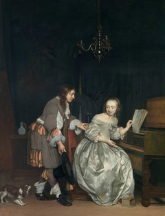 Interior with a Lady at a Spinet and a Gentleman Offering Her a Glass of Wine