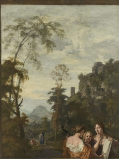Italian Landscape with three Women Making Music