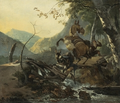 Italianate Landscape with a Donkey and a Rearing Horse Crossing a Collapsing Bridge