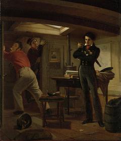 Jan van Speijk Debating whether to Set Fire to the Gunpowder
