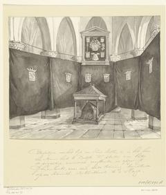 Katafalk voor het lijk van Willem I, prins van Oranje, in de Nieuwe Kerk te Delft, 1584