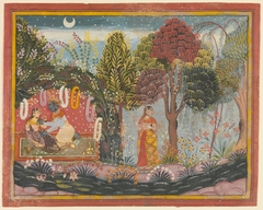 Krishna and Radha in a Bower:  Page From a Dispersed Gita Govinda