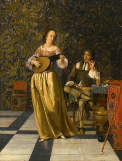 Lady Playing a Lute with Gentleman Seated at a Table