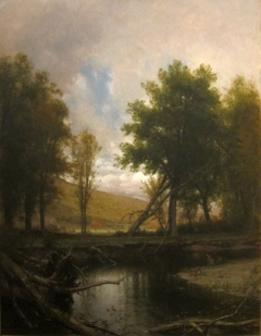 Landscape with Stream and Deer