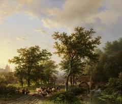 Landschap met watermolen en veedrijvende boeren