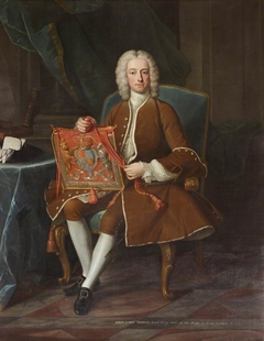 Lord John Hervey, 2nd Baron Hervey of Ickworth, PC, MP (1696-1743) holding his Purse of Office as Lord Privy Seal