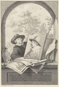 Man met een map met tekeningen en een portret van Jan van Goyen