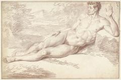 Mannelijk naakt, liggend op de zij, naar rechts