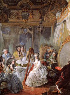 Marie Antoinette playing the harp at the French Court