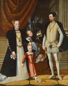 Maximilian II. (1527-1576) und seine Gemahlin Maria von Spanien (1528-1603) und seine Kinder Anna (1549-1580), Rudolf (1552-1612) und Ernst (1553-1595)