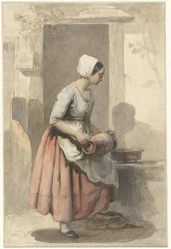 Meisje met een kruik bij de ingang van een woning