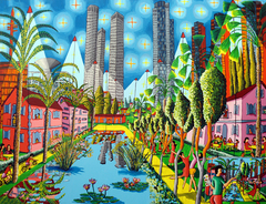 naive art paintings folk artworks painting urban landscape artwork cityscape painter raphael perez tel aviv israel