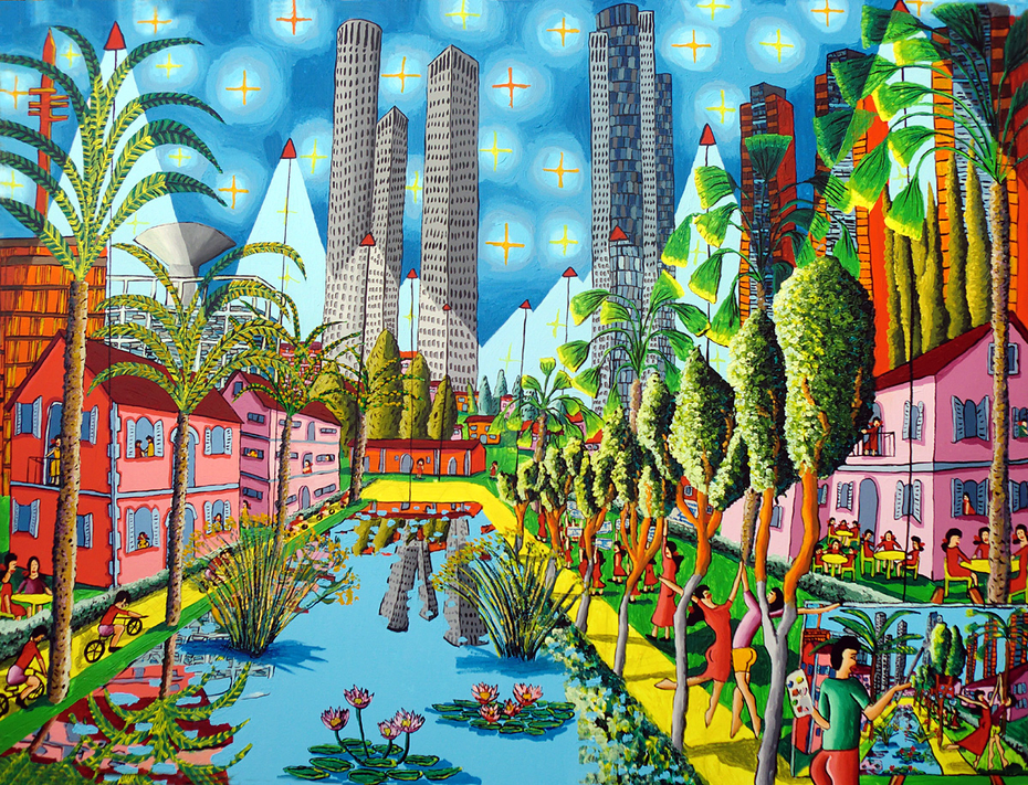 naive art paintings folk artworks painting urban landscape artwork cityscape painter raphael perez tel aviv israel