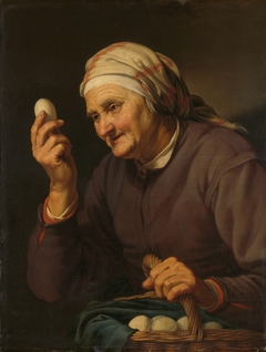 Old woman selling eggs